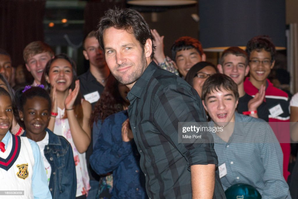 <a gi-track='captionPersonalityLinkClicked' href=/galleries/search?phrase=Paul+Rudd&family=editorial&specificpeople=209014 ng-click='$event.stopPropagation()'>Paul Rudd</a> attends the <a gi-track='captionPersonalityLinkClicked' href=/galleries/search?phrase=Paul+Rudd&family=editorial&specificpeople=209014 ng-click='$event.stopPropagation()'>Paul Rudd</a> 2nd Annual All-Star Bowling Benefit at Lucky Strike on October 21, 2013 in New York City.
