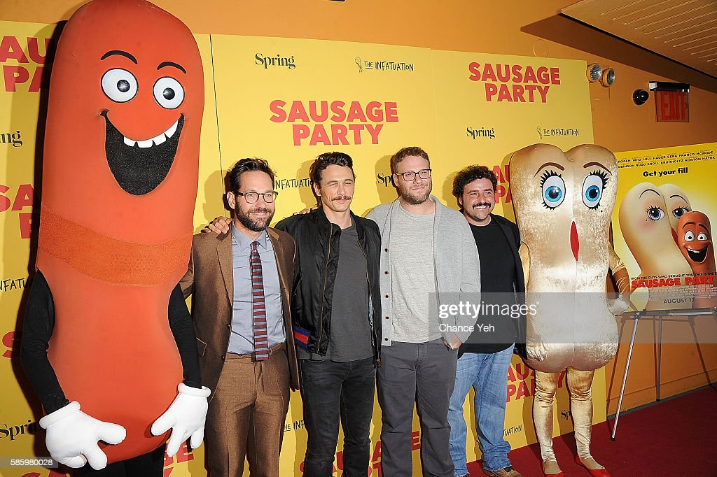 Paul Rudd, James Franco, Seth Rogen and David Krumholtz attend 'Sausage Party' New York premiere at Sunshine Landmark on August 4, 2016 in New York City.
