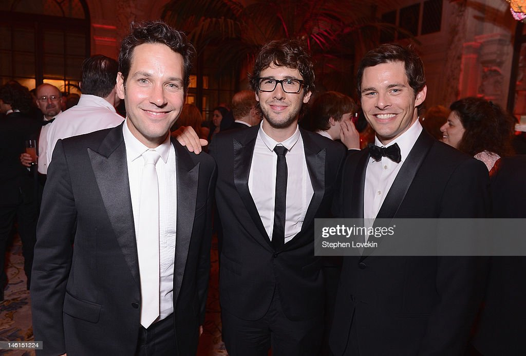 Paull Rudd, <a gi-track='captionPersonalityLinkClicked' href=/galleries/search?phrase=Josh+Groban&family=editorial&specificpeople=202917 ng-click='$event.stopPropagation()'>Josh Groban</a> and <a gi-track='captionPersonalityLinkClicked' href=/galleries/search?phrase=James+Marsden&family=editorial&specificpeople=206902 ng-click='$event.stopPropagation()'>James Marsden</a> attend 66th Annual Tony Awards after party at The Plaza Hotel on June 10, 2012 in New York City.