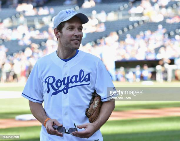 Paul Rudd pictured in the dugout during the 2017 Big Slick Celebrity Weekend at Kauffman Stadium on June 23 2017 in Kansas City Missouri