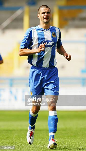 Paul Scharner of Wigan Athletic in action during the PreSeason Friendly match between Halifax Town and Wigan Athletic at The Shay on July 28 2007 in...