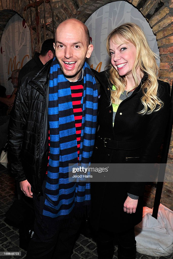 Paul Scheer and Riki Lindhome warm up at the McDonald's McCafe at Sundance on January 21, 2013 in Park City, Utah.