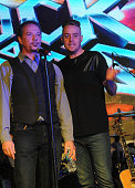 Paul Schoeffler and Josh Sassanella performs at the 'Rock Of Ages' Broadway Cast Reunion Concert at Highline Ballroom on January 25 2016 in New York...