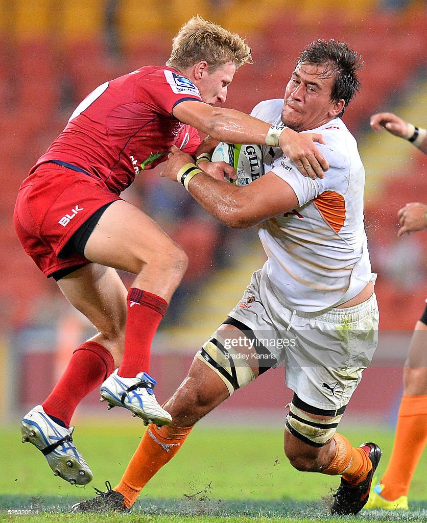 Paul Schoeman of the Cheetahs takes on the defence during the round 10 Super Rugby match between the Reds and the Cheetahs at Suncorp Stadium on April 30, 2016 in Brisbane, Australia.