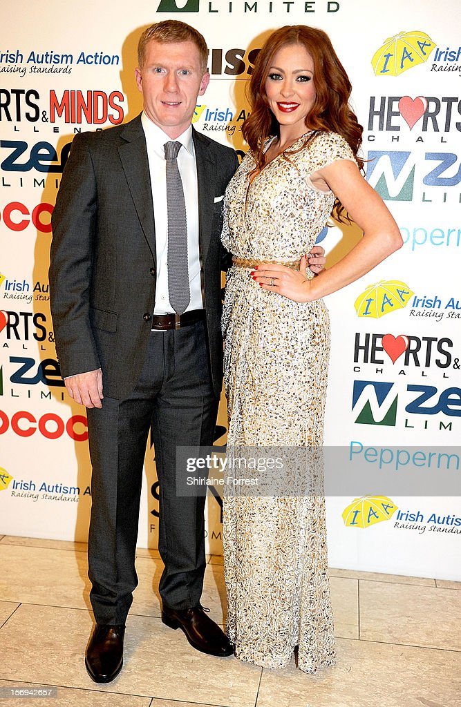 Paul Scholes and Natasha Hamilton attend the Hearts and Minds charity ball at Hilton Hotel on November 25, 2012 in Manchester, England.