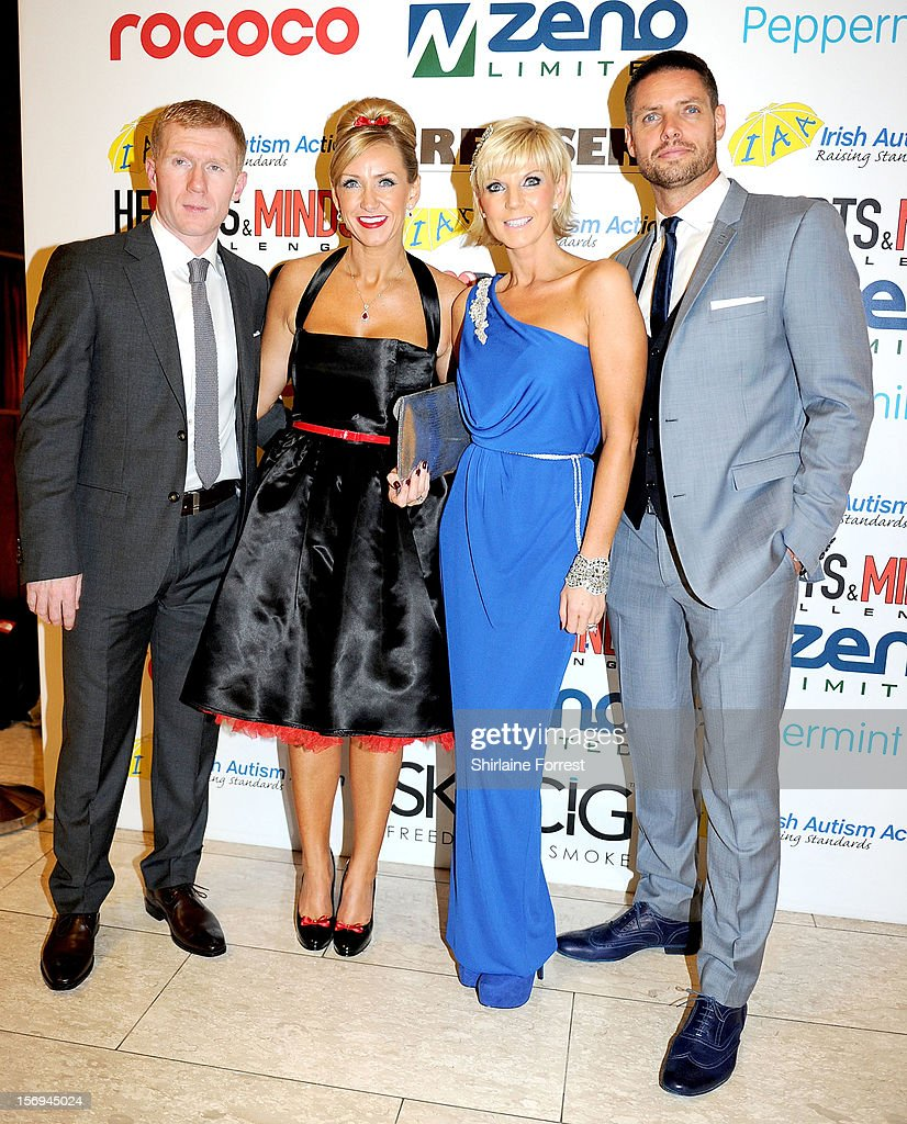 Paul Scholes and wife Claire Scholes with Keith Duffy and wife Lisa Duffy attend the Hearts and Minds charity ball at Hilton Hotel on November 25, 2012 in Manchester, England.