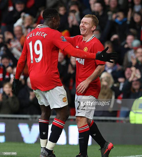 Paul Scholes of Manchester United celebrates scoring their first goal during the Barclays Premier League match between Manchester United and Bolton...