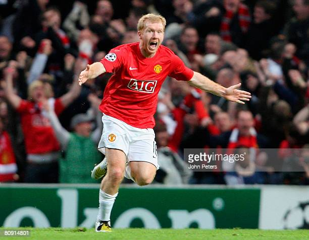 Paul Scholes of Manchester United celebrates scoring their first goal during the UEFA Champions League SemiFinal second leg match between Manchester...