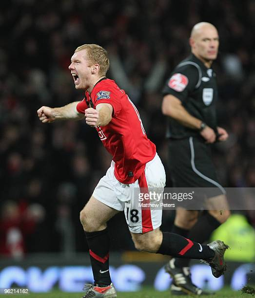 Paul Scholes of Manchester United celebrates scoring their first goal during the Carling Cup SemiFinal Second Leg match between Manchester United and...