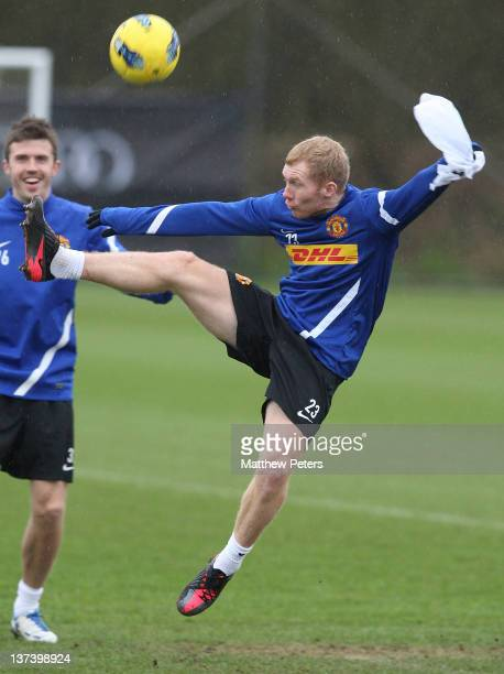 Paul Scholes of Manchester United in action during a first team training session at Carrington Training Ground on January 20 2012 in Manchester...