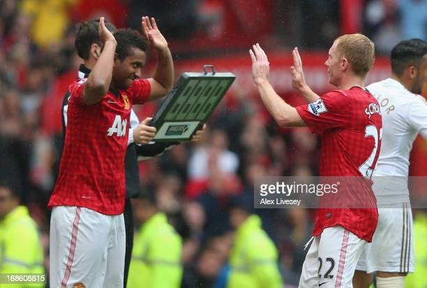 Paul Scholes of Manchester United is substituted for Anderson in his final game for the club during the Barclays Premier League match between...