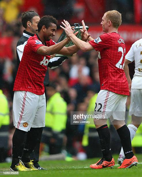 Paul Scholes of Manchester United is substituted in his final game for the club during the Barclays Premier League match between Manchester United...