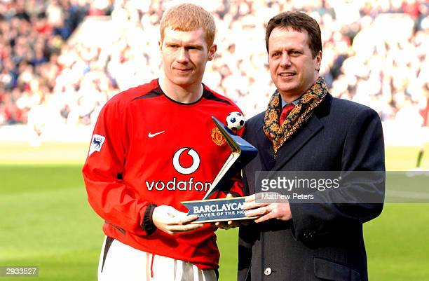 Paul Scholes receives his Barclaycard player of the month award before the FA Barclaycard Premiership match between Manchester United v Manchester...