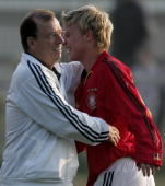 Paul Schomann head coach of Germany and Patrick Funk celebrate after the Under 16 international friendly match between Russia and Germany at the...