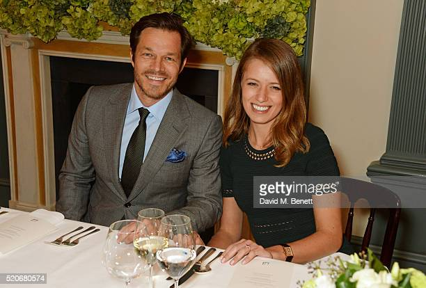 Paul Sculfor and Federica Amati attend PORT Magazine's 5th anniversary dinner with dunhill London at at Alfred Dunhill Bourdon House on April 12 2016...