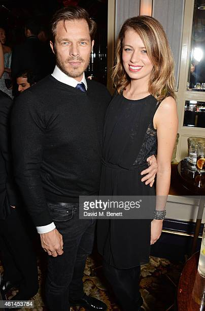 Paul Sculfor and Federica Amati attend the launch of Tom Ford's new fragrance 'Noir Extreme' at The Chiltern Firehouse on January 12 2015 in London...