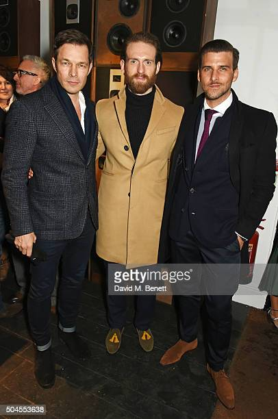 Paul Sculfor Craig McGinlay and Johannes Huebl attend the LATHBRIDGE By Patrick Cox presentation during The London Collections Men AW16 on January 11...