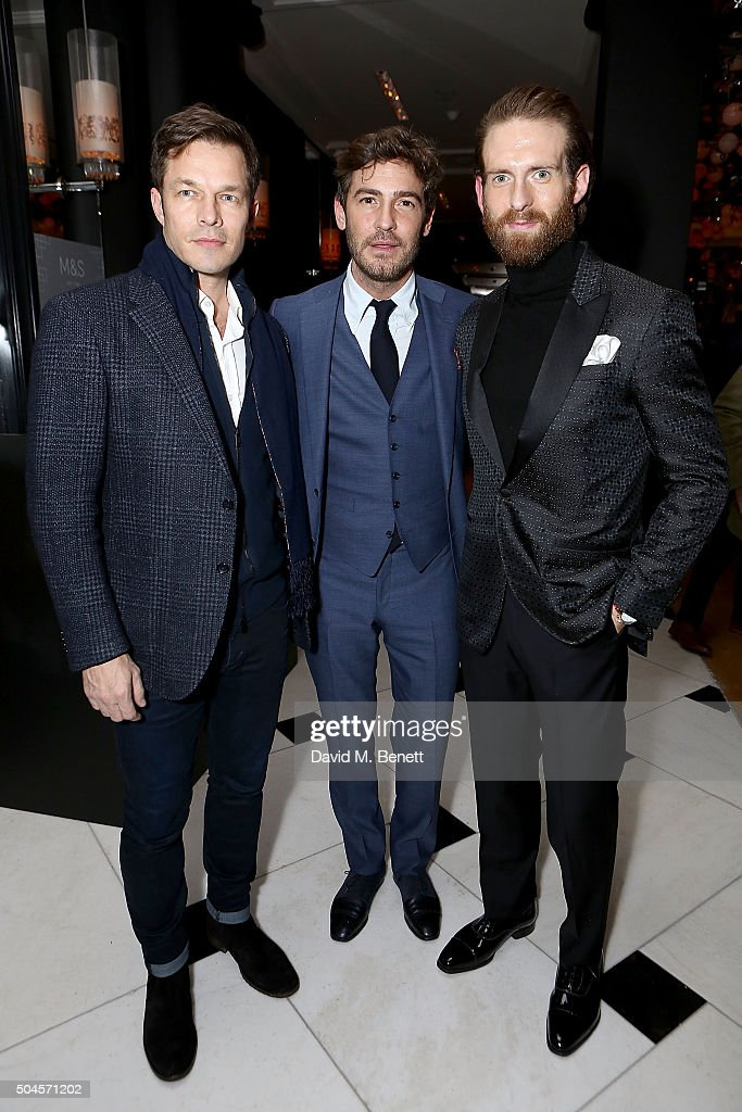 Paul Sculfor, Robert Konjic and Craig McGinlay attend a reception hosted by Marks & Spencer and ShortList Magazine to celebrate London Collections Men AW16 at Rosewood London on January 11, 2016 in London, England.