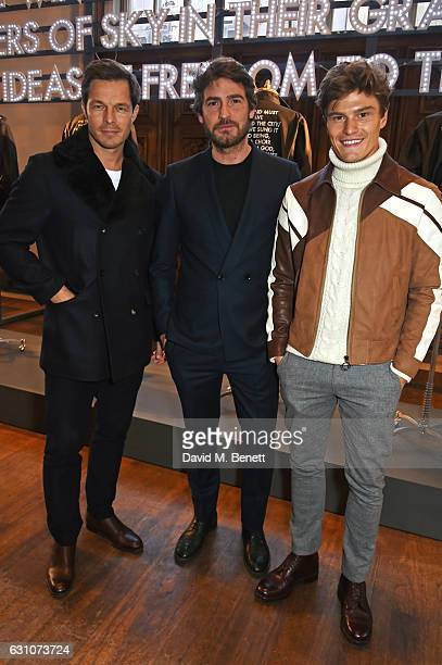 Paul Sculfor Robert Konjic and Oliver Cheshire attend the Barbour International presentation during London Fashion Week Men's January 2017...