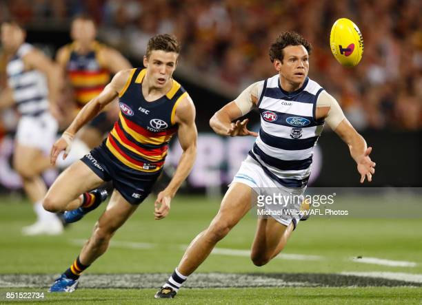 Paul Seedsman of the Crows and Steven Motlop of the Cats in action during the 2017 AFL First Preliminary Final match between the Adelaide Crows and...