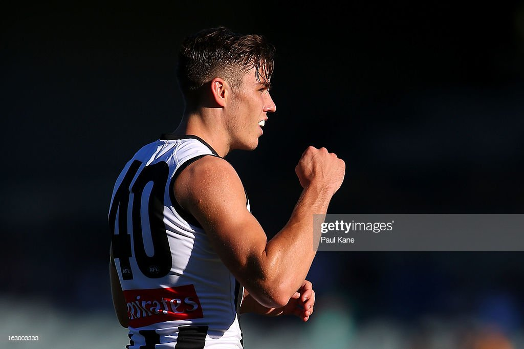 Paul Seedsman of the Magpies celebrates kicking a super goal during the round two AFL NAB Cup match between the West Coast Eagles and the Collingwood Magpies at Patersons Stadium on March 3, 2013 in Perth, Australia.