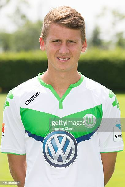 Paul Seguin poses during the team presentation of VfL Wolfsburg at Volkswagen Arena on July 16 2015 in Wolfsburg Germany