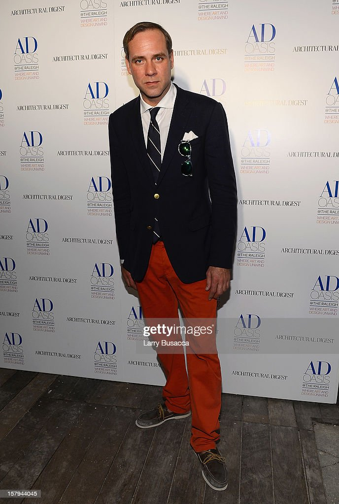 DJ <a gi-track='captionPersonalityLinkClicked' href=/galleries/search?phrase=Paul+Sevigny&family=editorial&specificpeople=887601 ng-click='$event.stopPropagation()'>Paul Sevigny</a> arrives to AD Oasis & Sunbrella host Cocktail Party Celebrating AD100 Designer Mark Cunningham at The Raleigh on December 7, 2012 in Miami, Florida.