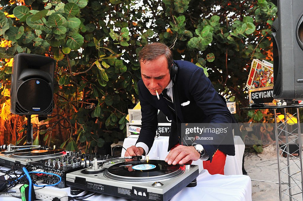 DJ <a gi-track='captionPersonalityLinkClicked' href=/galleries/search?phrase=Paul+Sevigny&family=editorial&specificpeople=887601 ng-click='$event.stopPropagation()'>Paul Sevigny</a> spins during AD Oasis hosts Caesarstone's Happy Hour at The Raleigh on December 7, 2012 in Miami, Florida.