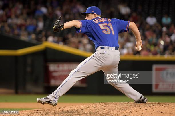 Paul Sewald of the New York Mets delivers a pitch in the eighth inning against the Arizona Diamondbacks during the MLB game at Chase Field on May 16...