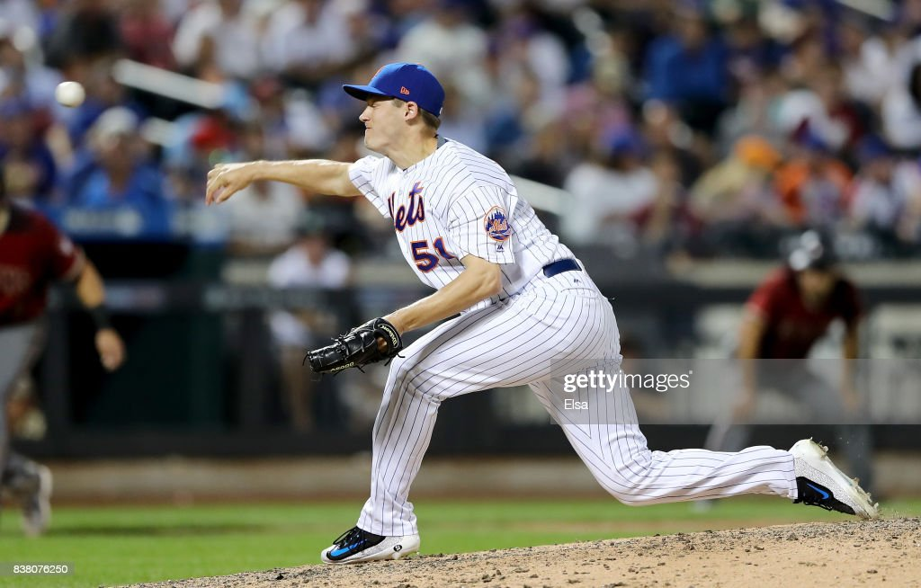 Paul Sewald #51 of the New York Mets delivers a pitch in the seventh inning against the Arizona Diamondbacks on August 23, 2017 at Citi Field in the Flushing neighborhood of the Queens borough of New York City.