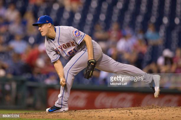Paul Sewald of the New York Mets pitches against the Philadelphia Phillies at Citizens Bank Park on August 10 2017 in Philadelphia Pennsylvania The...