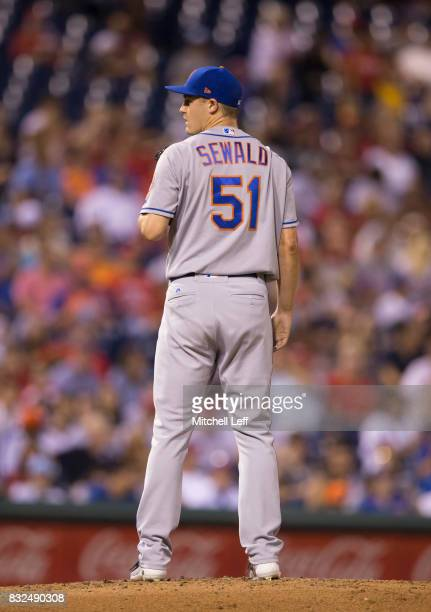 Paul Sewald of the New York Mets pitches against the Philadelphia Phillies at Citizens Bank Park on August 11 2017 in Philadelphia Pennsylvania