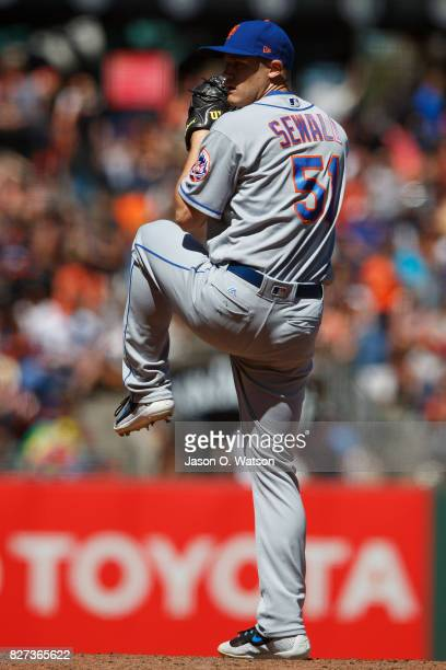 Paul Sewald of the New York Mets pitches against the San Francisco Giants during the seventh inning at ATT Park on June 25 2017 in San Francisco...