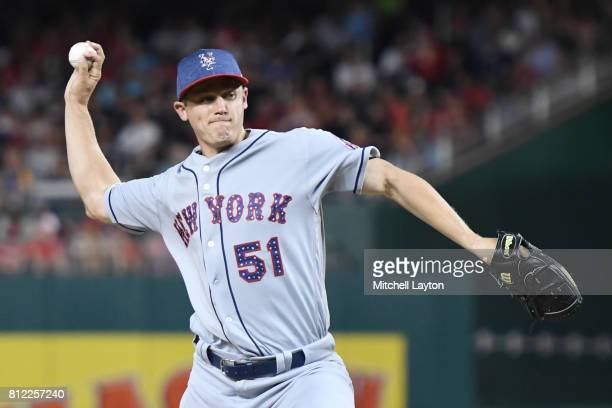 Paul Sewald of the New York Mets pitches during a baseball game against the Washington Nationals at Nationals Park on July 3 2017 in Washington DC...