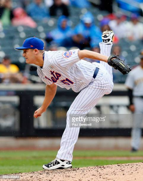 Paul Sewald of the New York Mets pitches in an MLB baseball game against the Pittsburgh Pirates on June 4 2017 at CitiField in the Queens borough of...