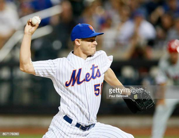Paul Sewald of the New York Mets pitches in an MLB baseball game against the Philadelphia Phillies on June 30 2017 at CitiField in the Queens borough...