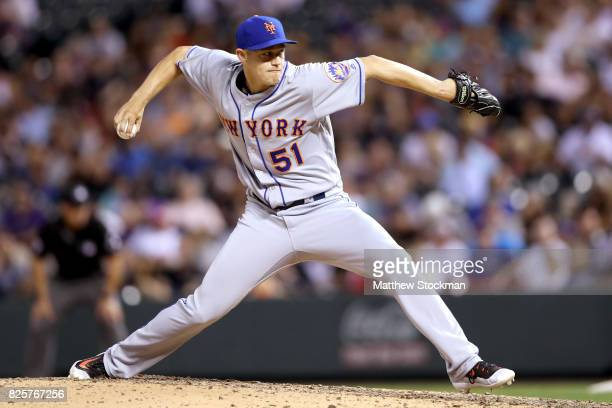 Paul Sewald of the New York Mets throws in the eighth inning against the Colorado Rockies at Coors Field on August 2 2017 in Denver Colorado