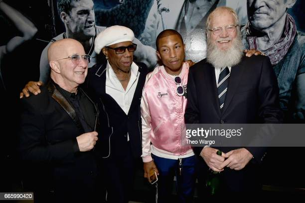 Paul Shaffer 2017 Inductee Nile Rodgers and presenters Pharrell Williams and David Letterman attend the Press Room of the 32nd Annual Rock Roll Hall...