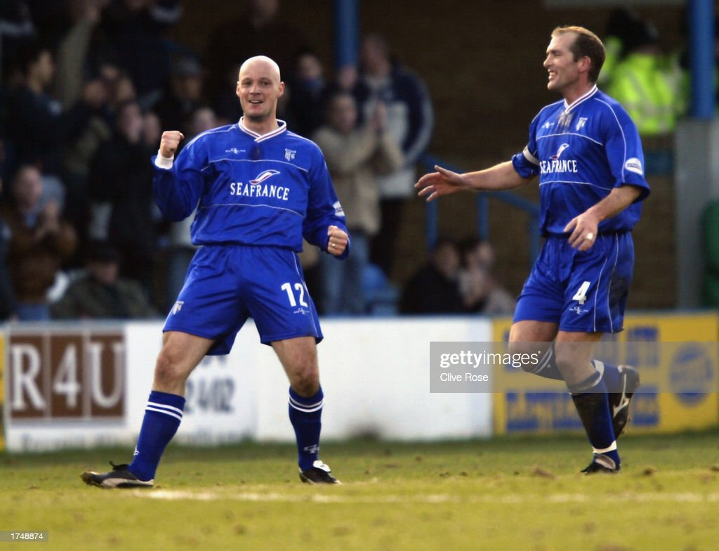 Paul Shaw of Gillingham celebrates scoring the first goal of the match during the Nationwide League Division One match between Gillingham and Leicester City held on January 18, 2003 at the Priestfield Stadium, in Gillingham, England. Gillingham won the match 3-2.
