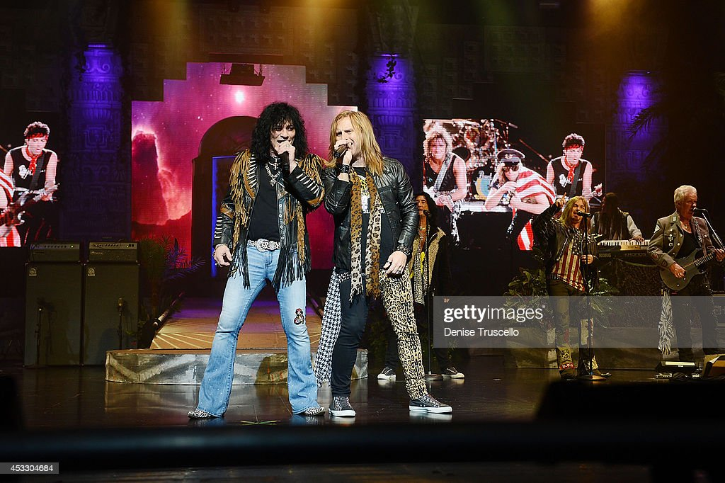 Paul Shortino and Andrew Freeman of Raiding the Rock Vault performs at the Westgate Las Vegas Resort and Casino on August 6, 2014 in Las Vegas, Nevada.
