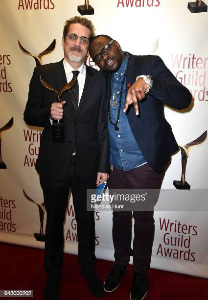 Paul Simms and Brian Tyree Henry pose backstage with award during 69th Writers Guild Awards New York Ceremony at Edison Ballroom on February 19 2017...