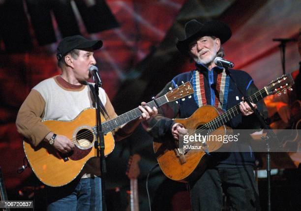 Paul Simon and Willie Nelson during 'Willie Nelson and Friends Live and Kickin'' Premiers on USA Network on May 26 2003 Rehearsal and Backstage at...