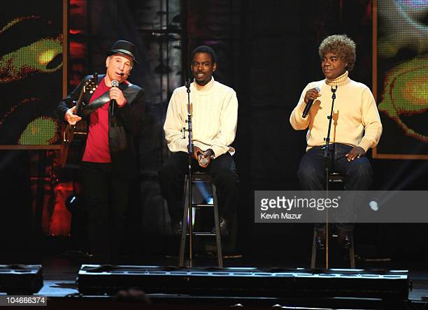 Paul Simon Chris Rock and Tracy Morgan on stage at Comedy Central's Night Of Too Many Stars An Overbooked Concert For Autism Education at the Beacon...