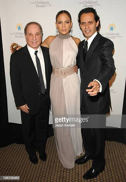 Paul Simon Jennifer Lopez and Marc Anthony during 20th Annual Childrens Fund Gala Arrivals May 30 2007 at The Hilton Hotel in New York City New York...