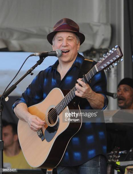 Paul Simon of Simon and Garfunkel perform at the 41st Annual New Orleans Jazz Heritage Festival Presented by Shell Fair Grounds Race Course on April...