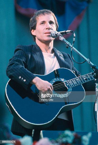 Paul Simon performs at Berkeley's Greek Theater during the Bread and Roses Music Festival in 1981