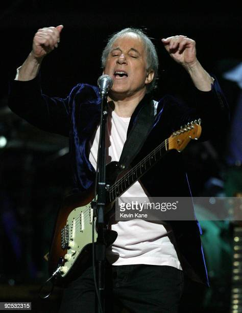 Paul Simon performs onstage at the 25th Anniversary Rock Roll Hall of Fame Concert at Madison Square Garden on October 29 2009 in New York City
