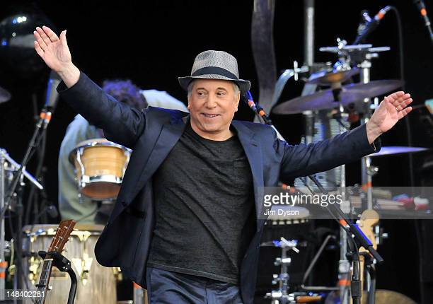 Paul Simon performs the album 'Graceland' live on stage during the third day of Hard Rock Calling at Hyde Park on July 15 2012 in London England