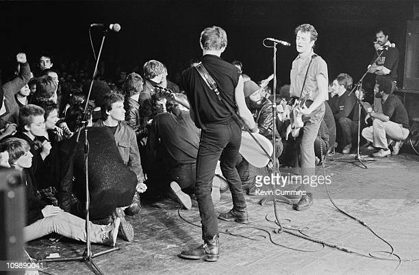 Paul Simonon and Joe Strummer of English punk group The Clash performing at the Apollo Manchester 3rd February 1980