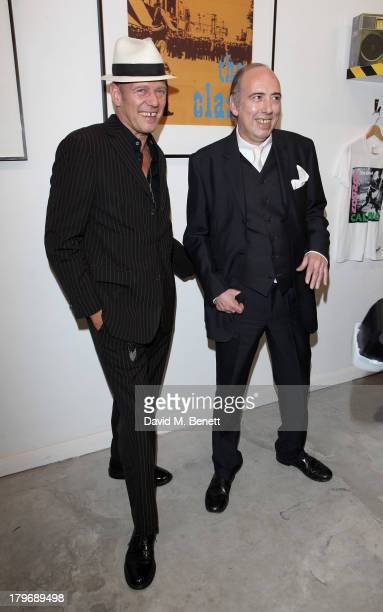 Paul Simonon and Mick Jones of The Clash attend the launch of 'Black Market Clash' an exhibition of personal memorabilia and items curated by...